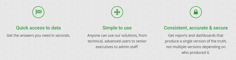 Quick access to data. Get the answers you need in seconds. Simple to use. Anyone can use our solutions from technical, advanced users to senior executives to admin staff. Consistent, accurate & secure. Get reports and dashboards that produce a single version of the truth, not multiple versions depending on who produced it.